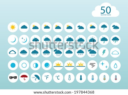 vector illustration of color weather icons on a blue background #197844368