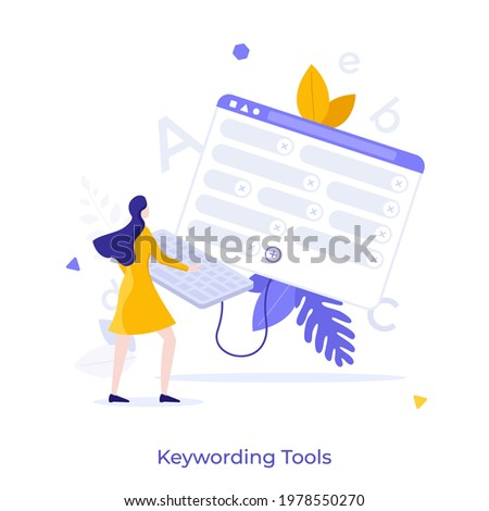 Woman working on keyboard connected to window with words or tags. Concept of online keywording tool, professional outsoursing service for microstock images. Modern flat vector illustration for banner.