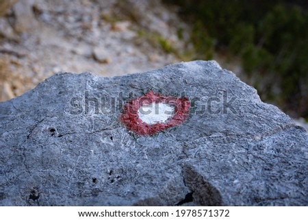 A red and white path marker in Julian Alps in Slovenia showing the right way for trekking in the woods. A sign showing direction. A mark on the rock  showing the right path in alpine road. Path maker.