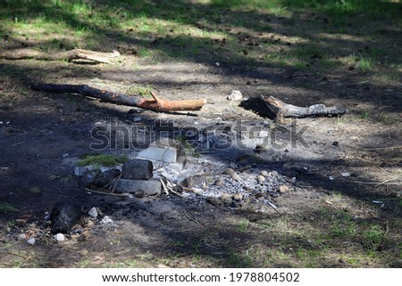 Abandoned extinguished fire place white bricks ring on ground close up with sun shadows, outdoors picnic leisure, empty campsite fireplace safety on a spring day, picture with copy space