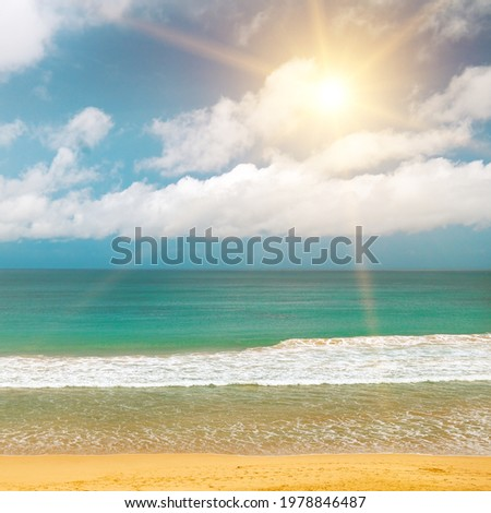 Sea surface summer wave background. Exotic water landscape with clouds on horizon. Natural tropical water paradise.