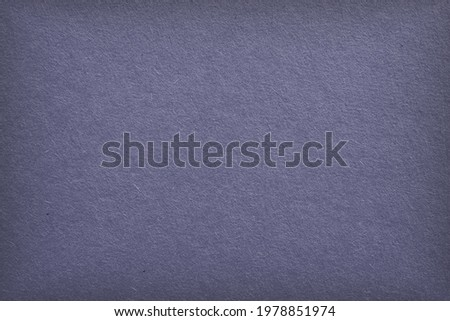The surface of purple blue cardboard. Grey paper texture with cellulose fibers. Generic gray tinted background with vignetting. Dark summer paperboard wallpaper. Top-down. Macro