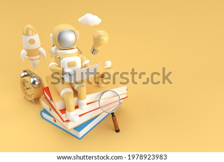 Astronaut sitting on Stack of books with working on laptop 3D Render Illustration.