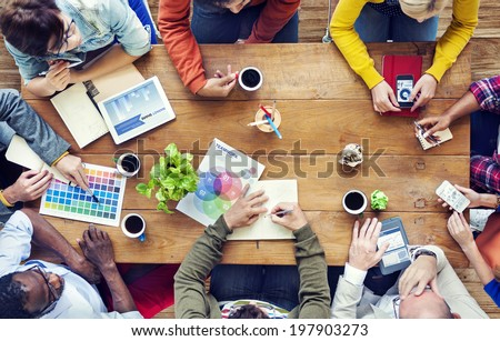 Group of Multiethnic Designers Brainstorming Royalty-Free Stock Photo #197903273