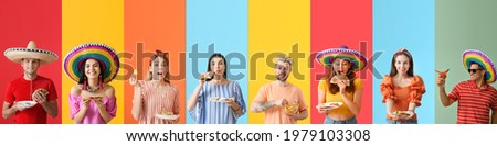 Set of people with tasty Mexican food on color background Royalty-Free Stock Photo #1979103308