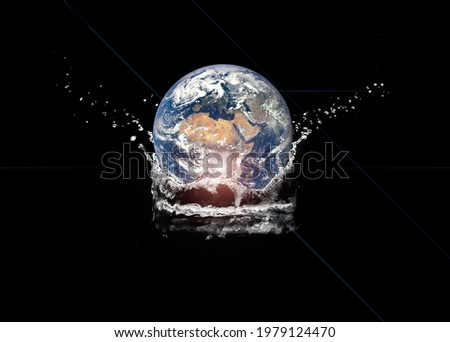Earth and Water Image showing the importance of water, this photo illustration is decorated by NASA. Concept of Water of Life.