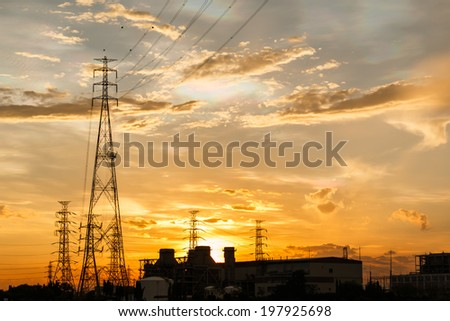 Electric power plant at sunrise #197925698