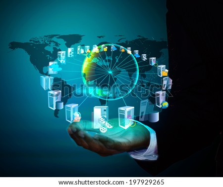 Enterprise Application connectivity and Integration in business man hand Royalty-Free Stock Photo #197929265