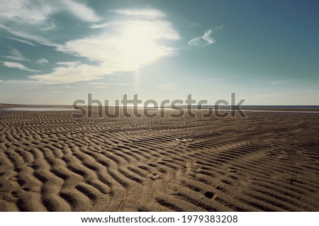 the surface of the sand against a blue sky with white clouds, upward view.  Royalty-Free Stock Photo #1979383208