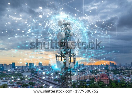 Telecommunication tower with 5G cellular network antenna on city background, Global connection and internet network concept Royalty-Free Stock Photo #1979580752
