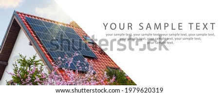 Panorama frame Close-up of solar panels installed on the house roof. Place for the inscription, banner