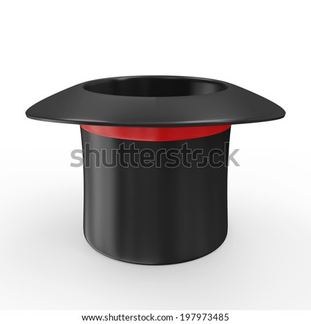 Empty Magic Hat with Red Ribbon isolated on white background #197973485