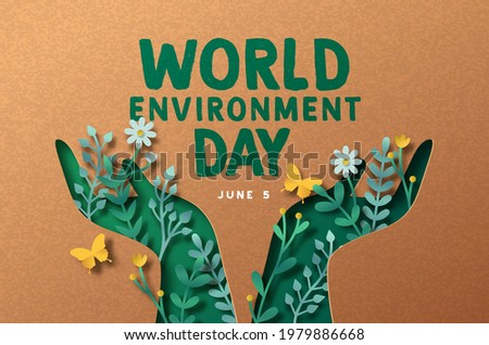 World Environment day papercut greeting card illustration of green people hand symbol with 3d paper craft nature decoration. June 5 ecology care celebration. Royalty-Free Stock Photo #1979886668