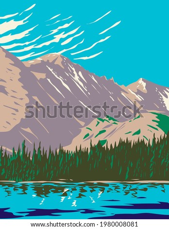Bear Lake in the Sheer Flanks of Hallett Peak and the Continental Divide Within in the Rocky Mountain National Park Wilderness in Colorado WPA Poster Art Royalty-Free Stock Photo #1980008081