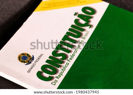 Constitution of the Federative Republic of Brazil, CRFB, 1988. Brazilian constitution. Royalty-Free Stock Photo #1980437945