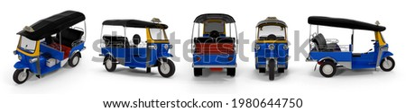 Traditional blue tuk-tuk taxi motor tricycle for transport passengers in Asia. Empty three-wheeler moto-taxi. Isolated white background 3d illustration different angle view realistic set