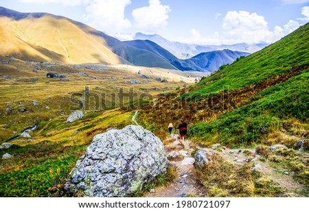 Valley in the mountains landscape. Mountain valley landscape. Mountain hill valley