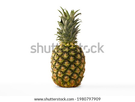Pineapple. High Res Macro Lens Pineapple Fruit Photograph Single Whole Ripe Pineapple Fruit Pen Tool Created Clipping Path Included in JPEG Easy to Composite Pineapple Photograph on White Background