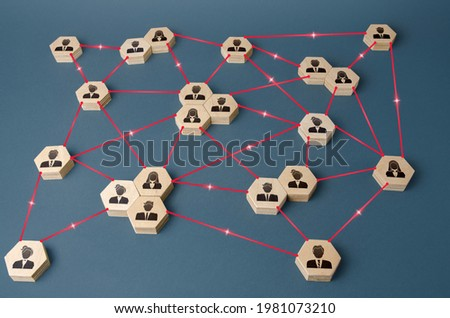 Connected people. Interactions between employees and working groups. Networking communication. Decentralized hierarchical system of company. Partnerships, business connections. Organization concept Royalty-Free Stock Photo #1981073210