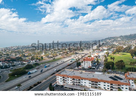 High Altitude Drone Shot of North San Clemente, Looking Over the I-5 Freeway Royalty-Free Stock Photo #1981115189