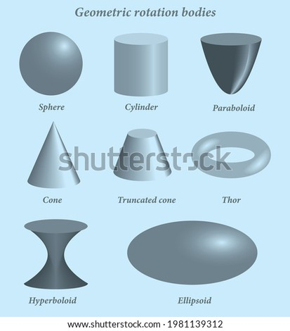 Set of volumetric geometrical colored shapes. Volumetric geometric shapes of rotation. Vector illustration Royalty-Free Stock Photo #1981139312