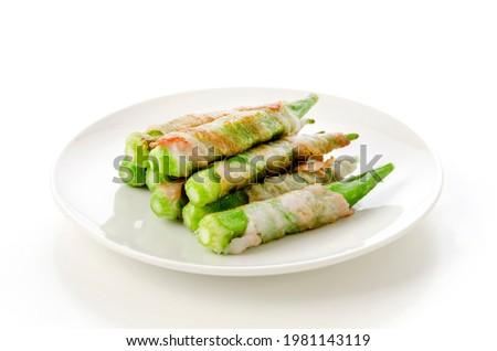 homemade Okra and belly pork roll