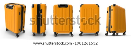 Hardside yellow luggage is case with handle and hinged lid, used for carrying clothes and other personal possessions. Isolated white background 3d illustration different angle view realistic set