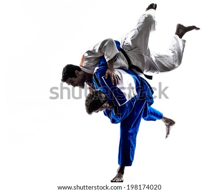 two judokas fighters fighting men in silhouette on white background Royalty-Free Stock Photo #198174020