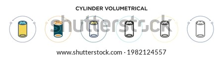 Cylinder volumetrical icon in filled, thin line, outline and stroke style. Vector illustration of two colored and black cylinder volumetrical vector icons designs can be used for mobile, ui, web Royalty-Free Stock Photo #1982124557