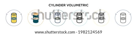 Cylinder volumetric icon in filled, thin line, outline and stroke style. Vector illustration of two colored and black cylinder volumetric vector icons designs can be used for mobile, ui, web Royalty-Free Stock Photo #1982124569