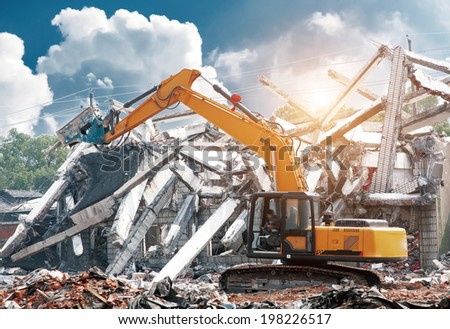 dismantling an apartment block. Royalty-Free Stock Photo #198226517