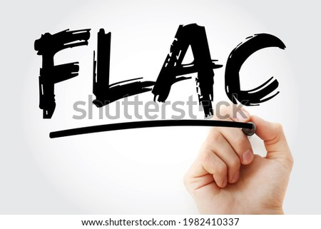 FLAC - Free Lossless Audio Codec acronym with marker, technology concept background