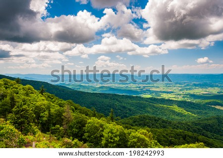 View of the Shenandoah Valley from an overlook on Skyline Drive in Shenandoah National Park, Virginia. #198242993