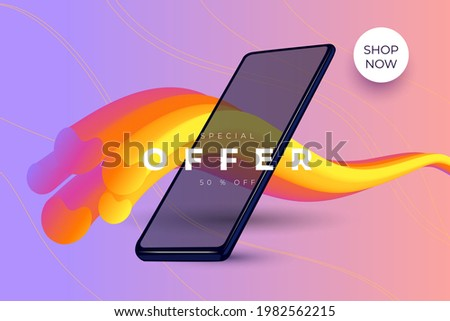Abstract modern vector design with volumetric multicolored wavy line and smartphone on the light background  Royalty-Free Stock Photo #1982562215