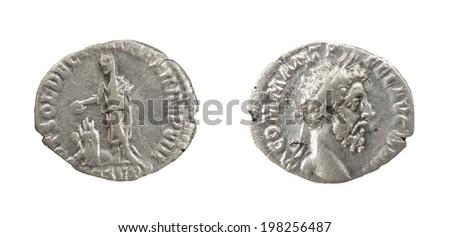 Coin Old silver Roman denarius, 161-192, L(usius) AEL(ius) AVREL(ius)COMM(odus) AVG(ustus)P(ius) FEL(ix)P(ontifex) M(aximus)TR(ibunicia)P(otestas)XVII IMP(erator) VIII CO(n)S(ul) VII P(ater)P(atriae)  #198256487
