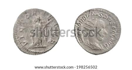 Coin Old silver Roman denarius,238-244,  IMP(erator) GORDIANVS PIVS FEL(ix) AVG(ustus) FORTUNA REDVX #198256502