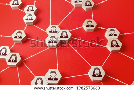 Network of connected people. Communicate interactions between working groups. Company networking communication. Partnerships, business relations development. Decentralized hierarchical system. Royalty-Free Stock Photo #1982573660