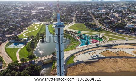 Aerial view of Parque do Rio Branco in Boa Vista, Roraima. Northern Brazil Royalty-Free Stock Photo #1982684315