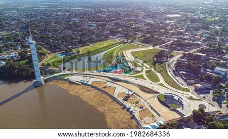 Aerial view of Parque do Rio Branco in Boa Vista, Roraima. Northern Brazil Royalty-Free Stock Photo #1982684336