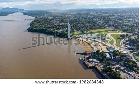 Aerial view of Parque do Rio Branco in Boa Vista, Roraima. Northern Brazil Royalty-Free Stock Photo #1982684348
