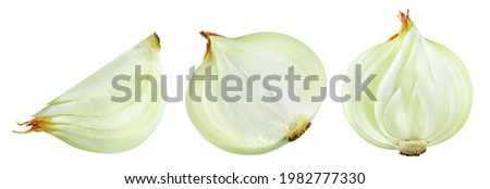 Cut onion bulb isolated. Onion half and slice on white background. Cut onion collection. Full depth of field. With clipping path. Royalty-Free Stock Photo #1982777330