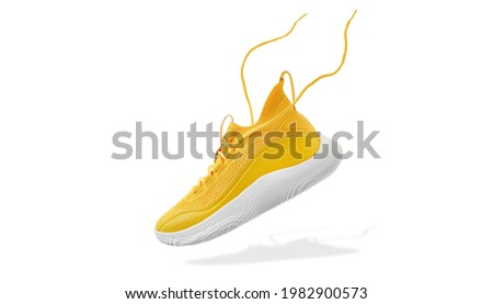 Flying yellow leather womens sneakers isolated on white background. Fashionable stylish sports casual shoes. Creative minimalistic layout with footwear. Mock up for design advertising for shoe store Royalty-Free Stock Photo #1982900573