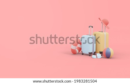 Summer time 3d rendering with suitcase and ball.