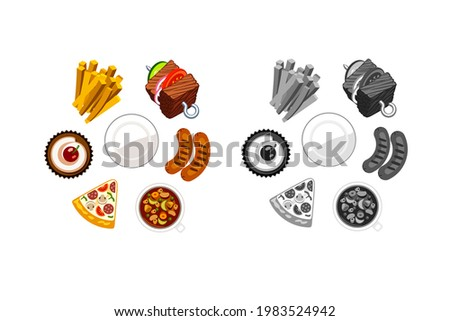 Clip art illustration of food sets,french fries,pizza,hot dogs,cup cakes,vegetable skewers and plates.