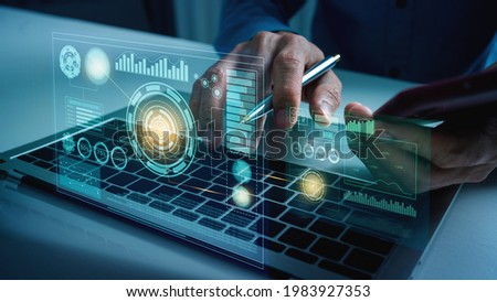 Business man works with vr financial artificial intelligence AI cloud computing and big data futuristic robot assistant and digital data visualization.