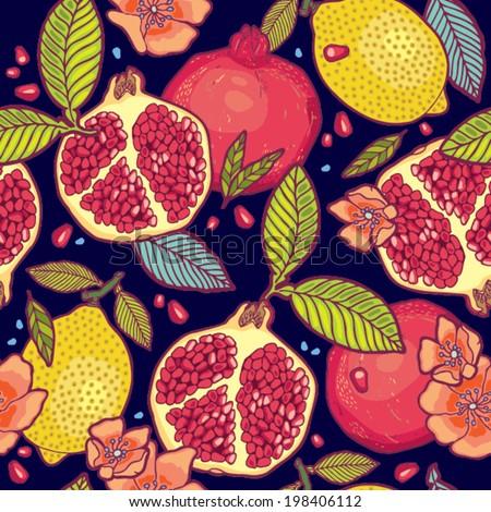 Tropical fruits garden at night vector pattern. #198406112