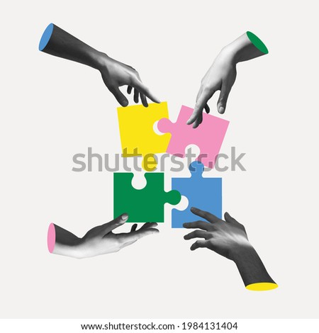 Male and female hands aesthetic on light background with colored puzzles, artwork. Concept of team work, business, community and professional occupation. Symbolism and surrealism.