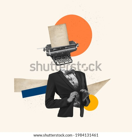 Hard thoughts in woman's head on blue background. Modern design, contemporary art collage. Inspiration, idea, trendy urban magazine style. Negative space to insert your text or ad. Minimalism. Royalty-Free Stock Photo #1984131461