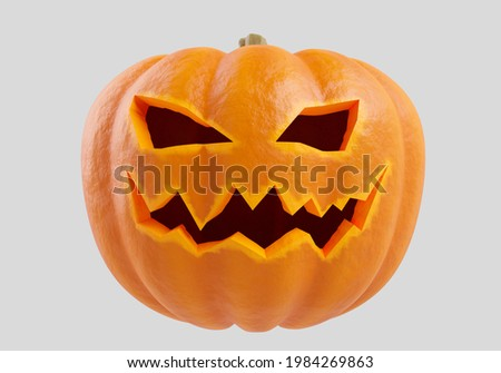 Halloween pumpkin on a light background. Orange pumpkin with  smile for your design for  holiday halloween. Halloween pumpkin 3d in form of a jack lamp. All Hallows' Eve decor in form of jack lamp