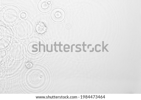 Desaturated transparent clear calm water surface texture with ripples, splashes Abstract nature background. White-grey water waves in sunlight Copy space Cosmetic moisturizer micellar toner emulsion Royalty-Free Stock Photo #1984473464